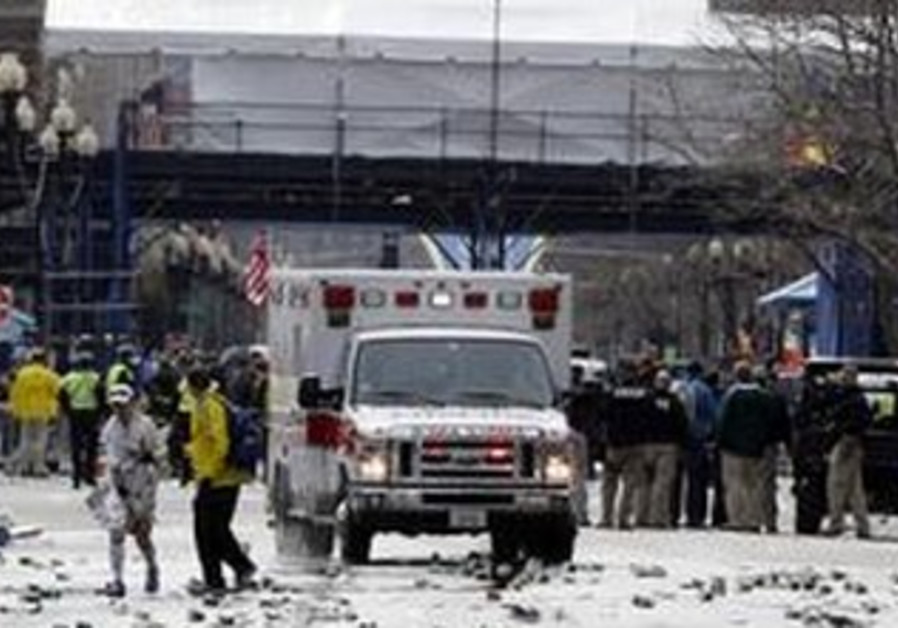Scene of Boston Marathon blasts, April 15, 2013.
