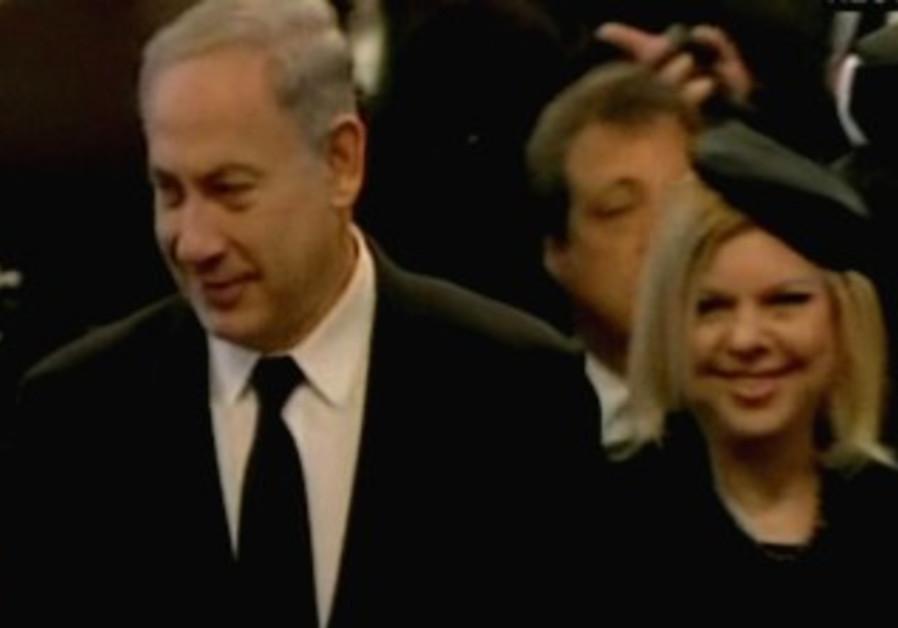 Benjamin and Sara Netanyahu at Margaret Thatcher's funeral in London, April 17, 2013.