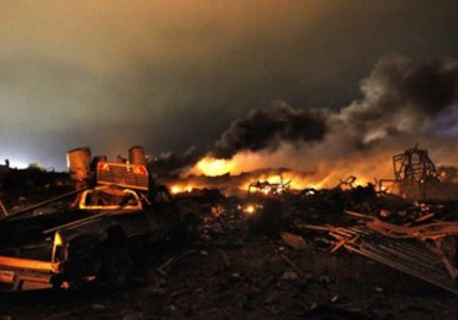 Fertilizer plant explosion in Texas, April 17, 2013.