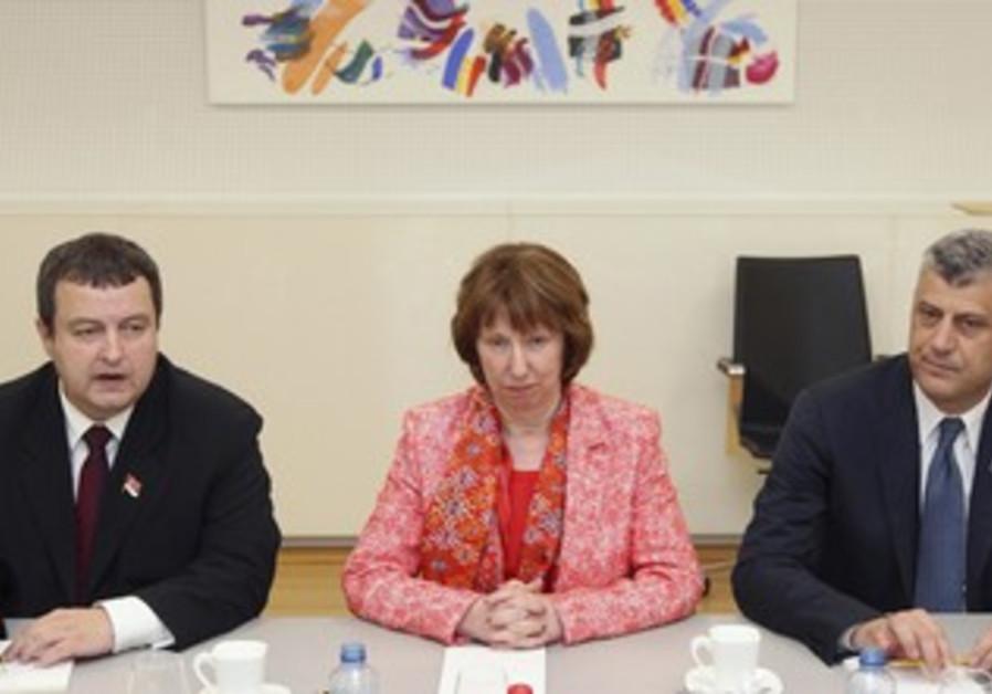 Serbian PM, Catherine Ashton, and Kosovan PM, April 19, 2013.