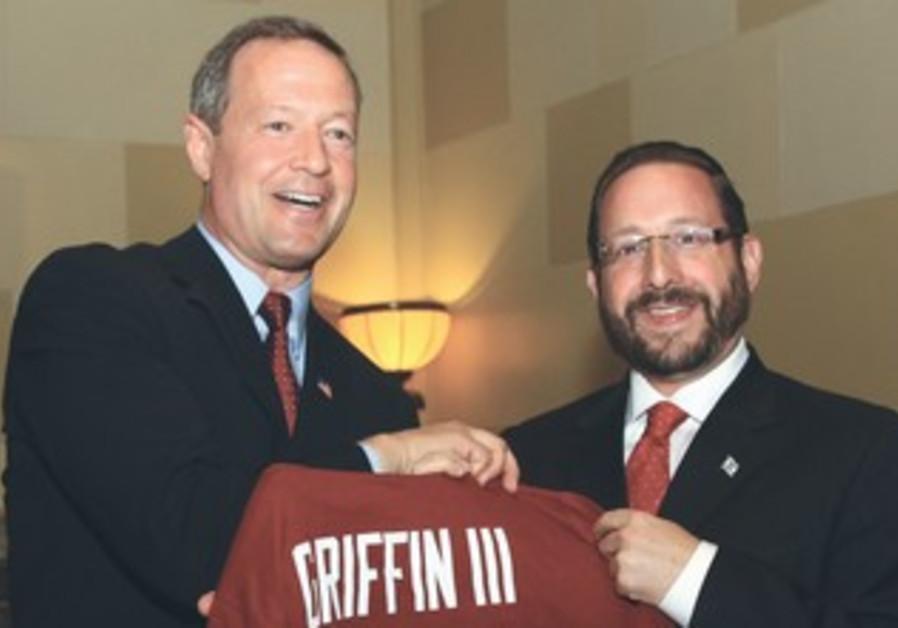 MARYLAND GOVERNOR Martin O'Malley (left) greets fellow Marylander Yesh Atid MK Dov Lipman