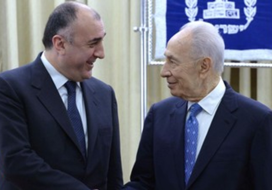 Azerbaijani FM Mammadyarov and President Peres meet in Israel, April 22,2013