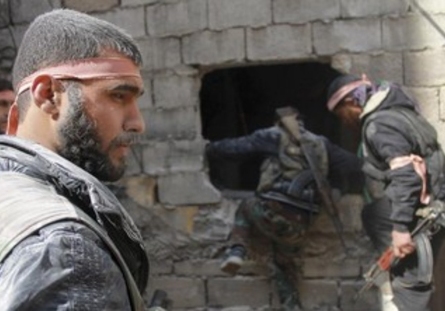 Free Syrian Army fighters in Jdeidet al Fadel, April 22, 2013.