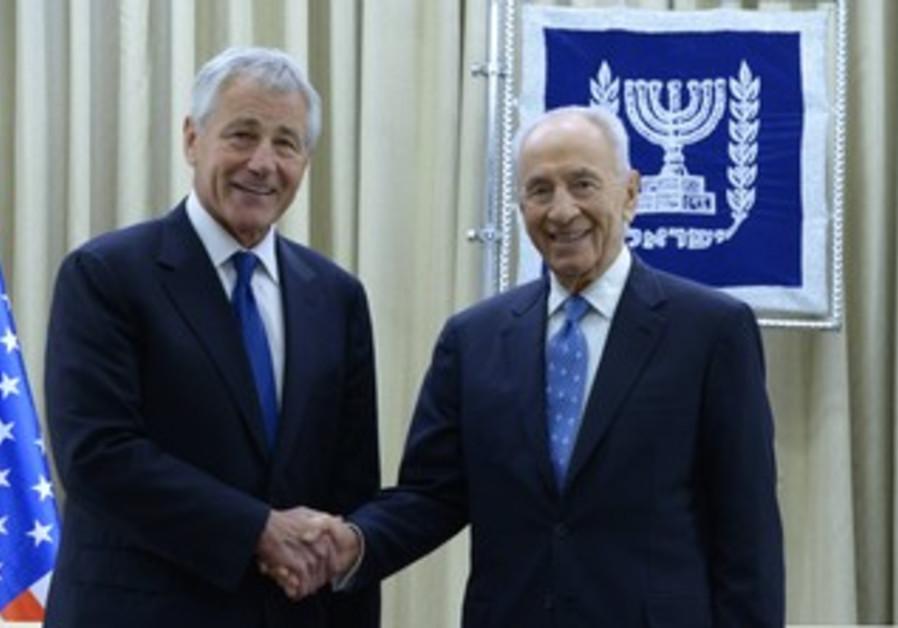 President Shimon Peres, US Secretary of Defense Chuck Hagel