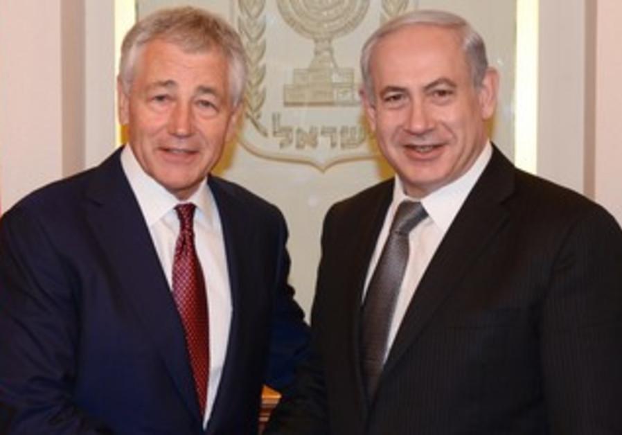 PM Binyamin Netanyahu with USA Secretary of Defence Chuck Hagel, Jerusalem.