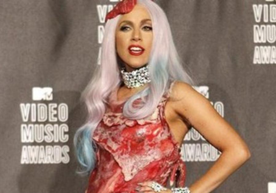 Lady Gaga in a meat dress.