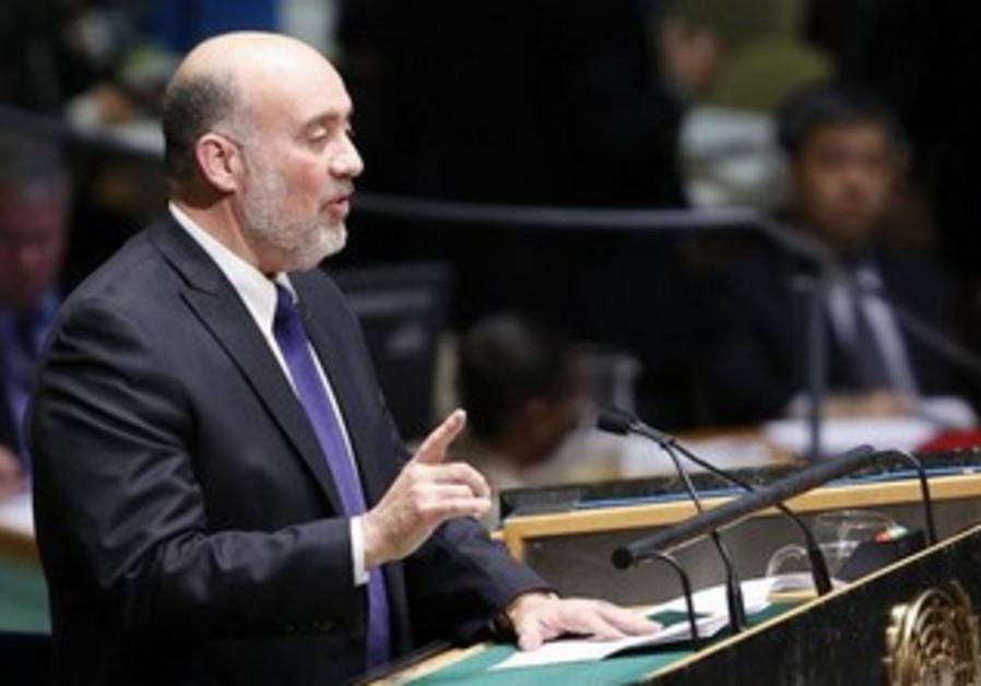 Israeli Ambassador to the UN Ron Prosor addresses the UN.