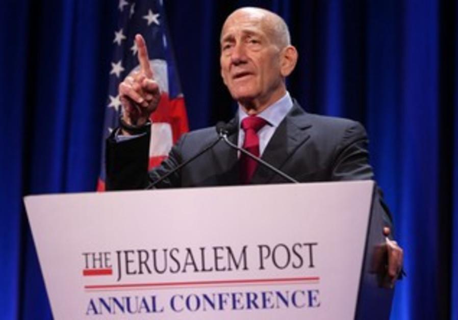 Ehud Olmert at the Jerusalem Post Conference, April 28, 2013.