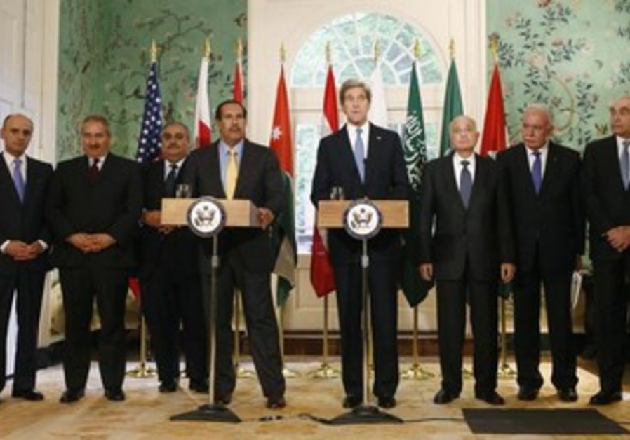 US Secretary of State Kerry with Arab League delegation in Washington, April 29