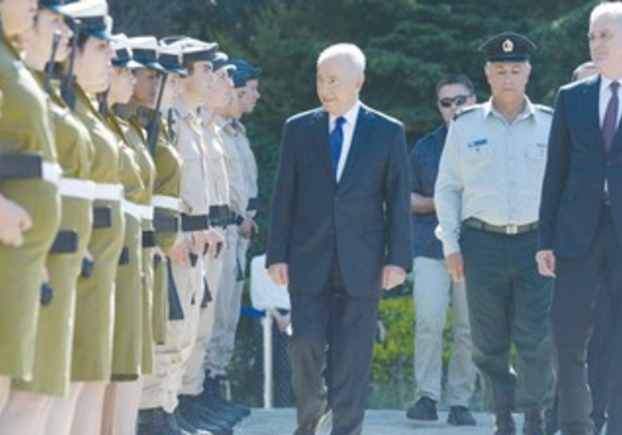 SERBIAN PRESIDENT Tomislav Nikolic (right) is welcomed by President Shimon Peres at his residence