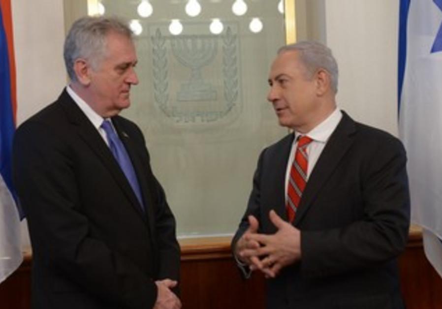 PM Binyamin Netanyahu meets with Serbian President Tomislav Nikovic.