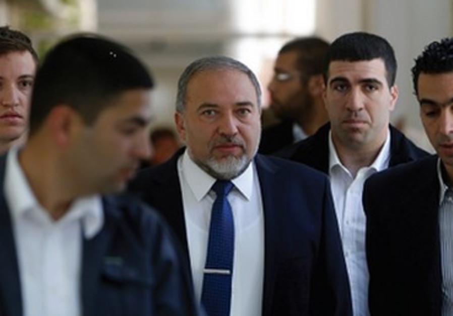 Avigdor Liberman au tribunal de Jérusalem, mercredi 25 avril