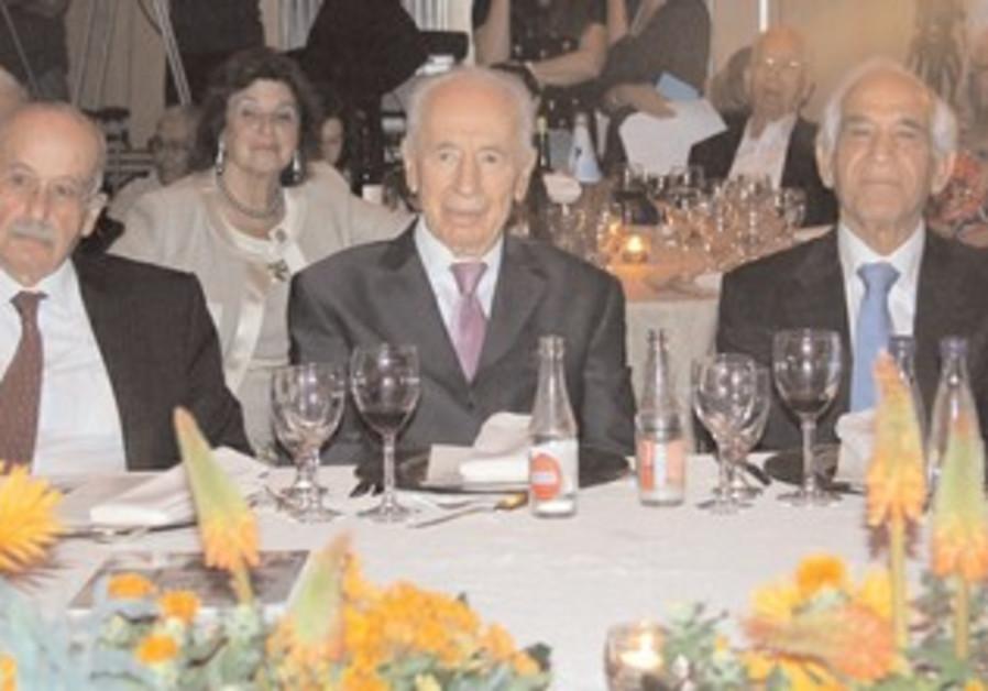 PRESIDENT SHIMON PERES, Ram Caspi (left) and Shlomo Hillel