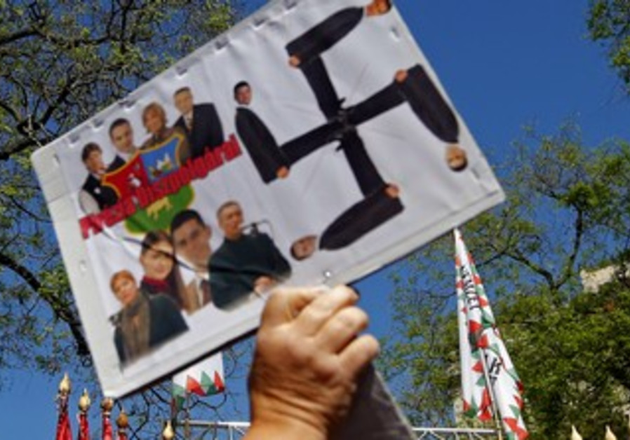 Far-right Jobbik party rally in Budapest, May 4, 2013