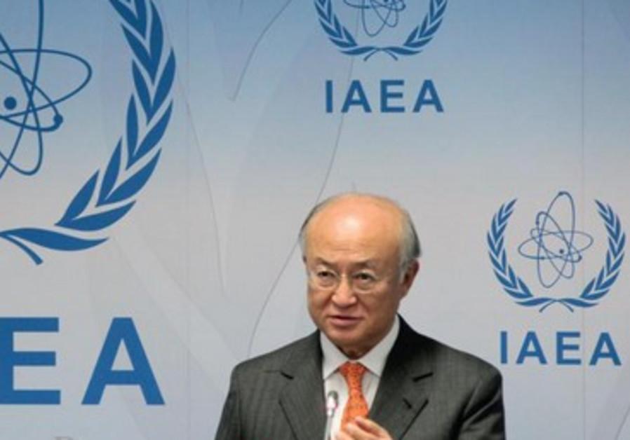 Le DG de l'Agence de l'énergie atomique iranienne, Y. Amano, lors d'une réunion à l'ONU, mars 2013