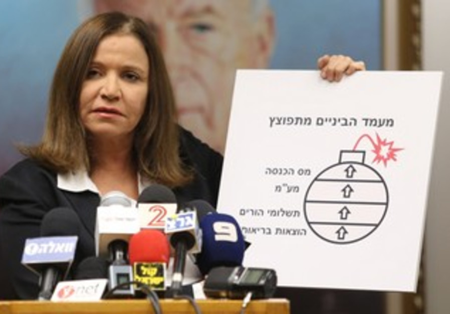 Opposition leader Shelly Yacimovich presents her red line, May 7, 2013