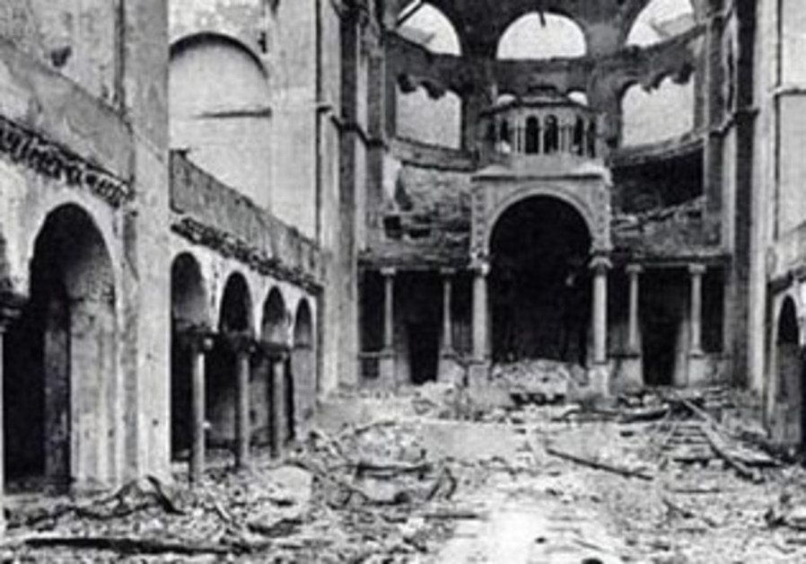 The interior of Berlin's Fasanenstrasse Synagogue after Kristallnacht.