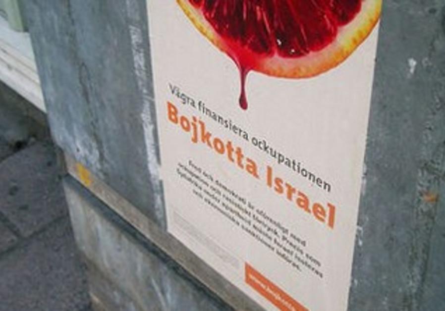 A sign in Sweden calls for Israel boycotts.
