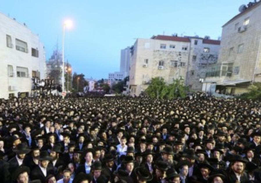 Haredi demonstration against IDF enlistment legislation in Jerusalem, May 16, 2013