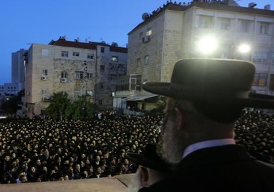 Haredi man looks over crowd