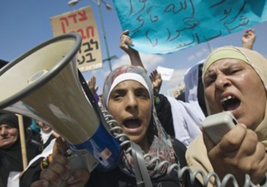 BEDUIN WOMEN take part in a protest in Beersheba.