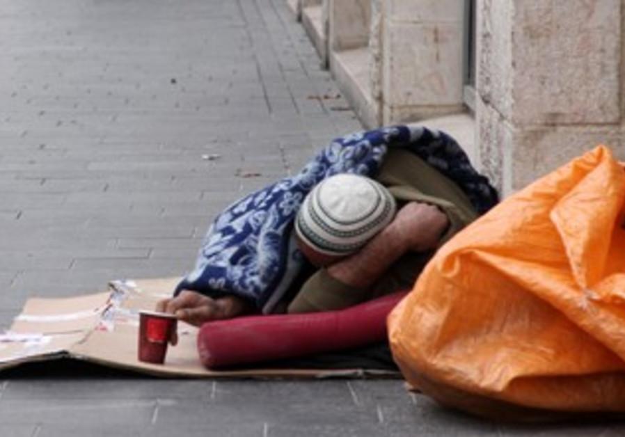 Homeless man on Jerusalem's Jaffa Street.