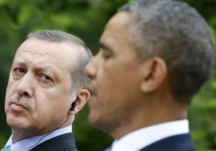 Turkish Prime Minister Recep Tayyip Erdogan and US President Obama in a joint press conference.