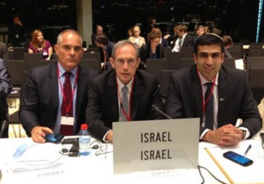 MKS Hoffman (L) Shai (C) and Chetboun at NATO conference in Luxembourg, May 19, 2013