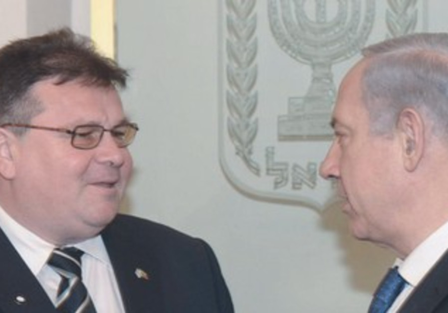 LITHUANIAN FM Linas Linkevicius (left) and Prime Minister Binyamin Netanyahu, May 21, 2013