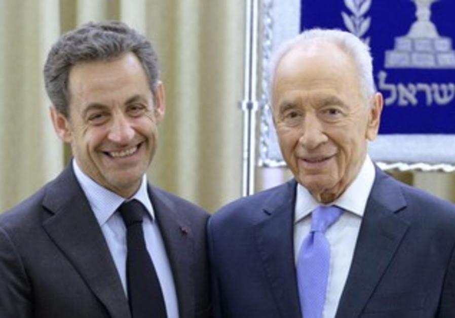 Former French President Nicolas Sarkozy, President Shimon Peres
