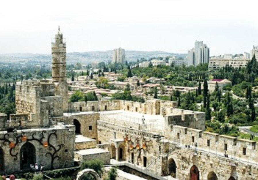 Aerial view over Jerusalem's Tower of David.