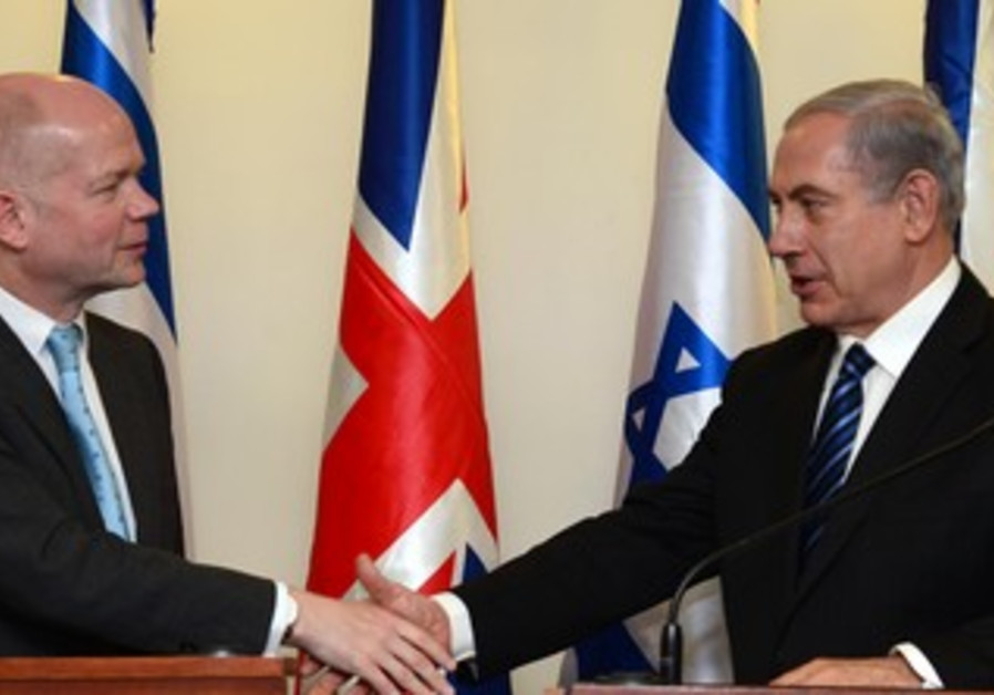 Netanyahu and Hague meet in Jerusalem, May 23, 2013