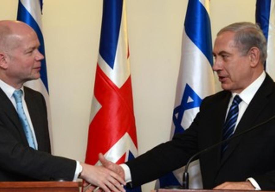 Netanyahu and Hague meet in Jerusalem, May 23, 2013