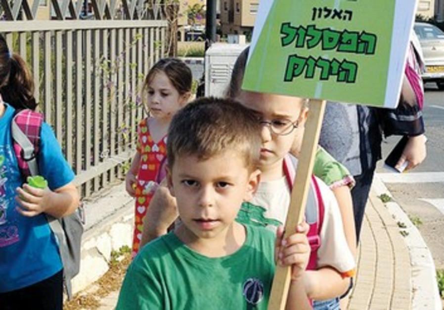 Amirim schoolkids take part in the 'walking bus' program.