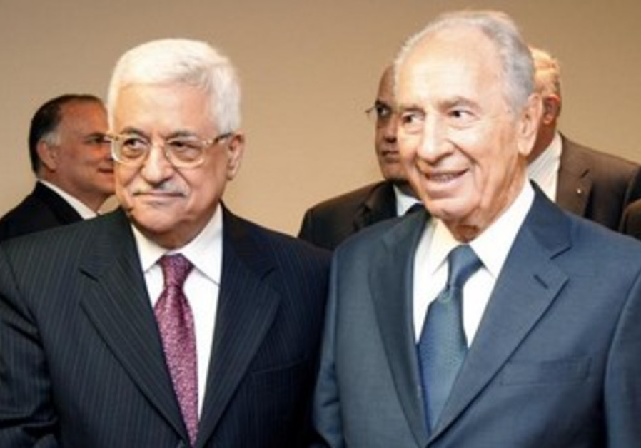 President Peres and PA President Abbas at the UN Headquarters in NYC, September 27, 2008.