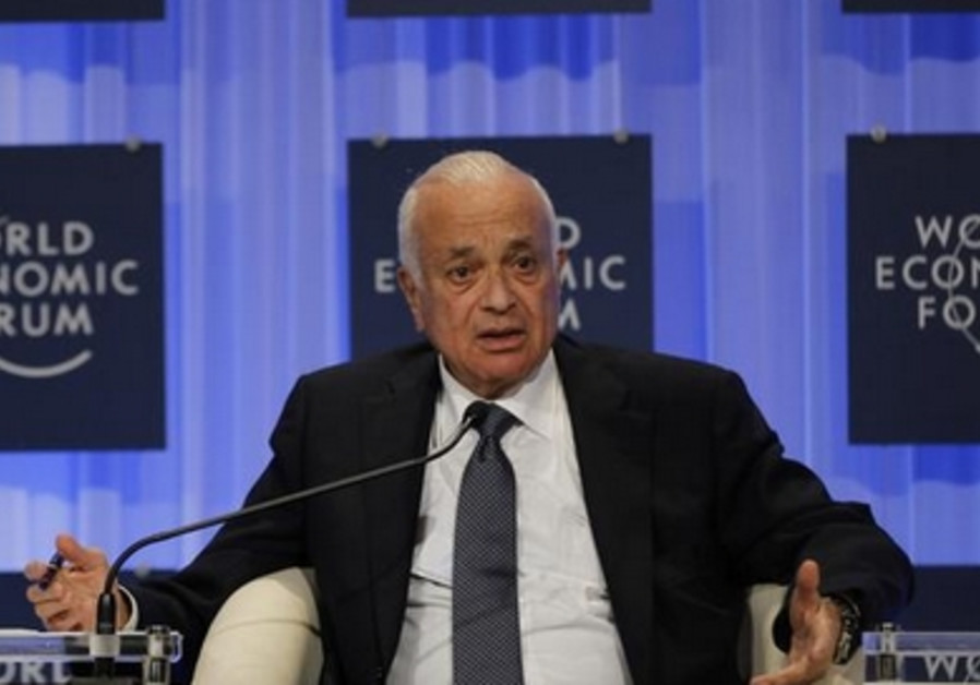 Arab League Secretary General Nabil Elaraby speaks at the World Economic Forum, May 25, 2013.