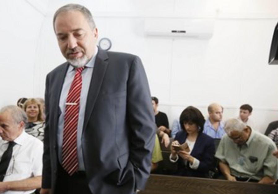 Avigdor Liberman in court May 29, 2013.