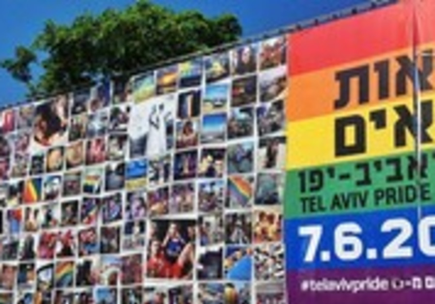 Rainbow flag in Rabin Square made up of public's photos