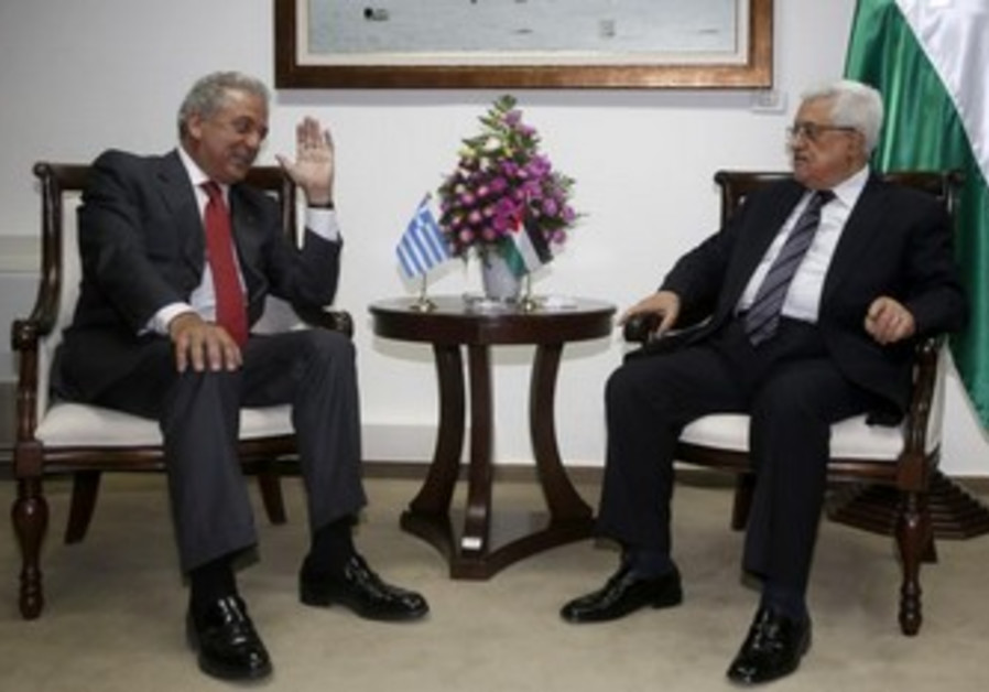 Mahmoud Abbas meets Greece's Foreign Minister Dimitris Avramopoulos in Ramallah May 30, 2013.
