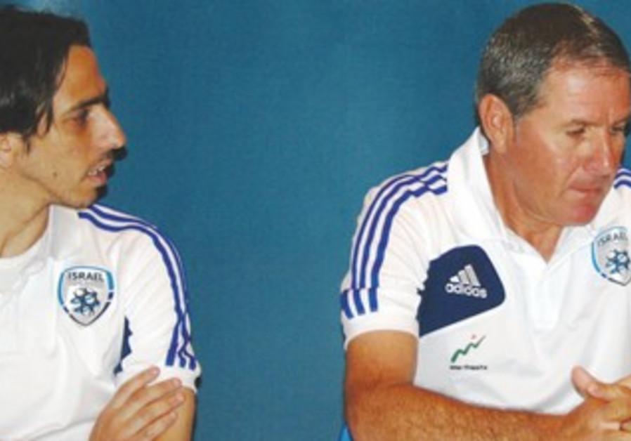 Israel National football team captain Yossi Benayoun (left) and Coach Eli Gutman
