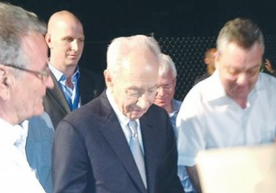 President Peres at the cornerstone cereomy of a new natural gas power plant.