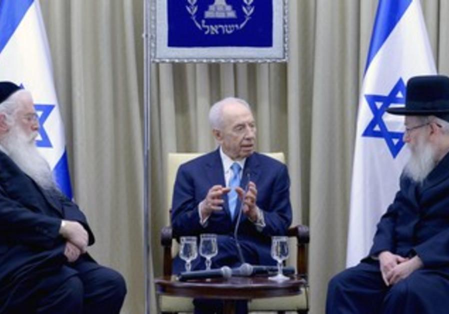 President Peres meets UTJ MKs Litzman and Porush.
