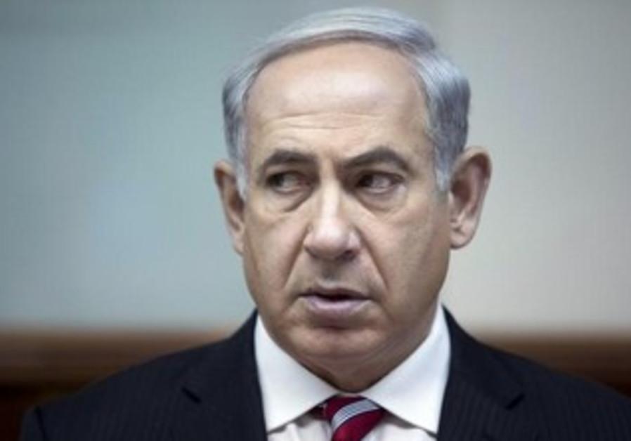 PM Binyamin Netanyahu during Sunday's cabinet meeting.