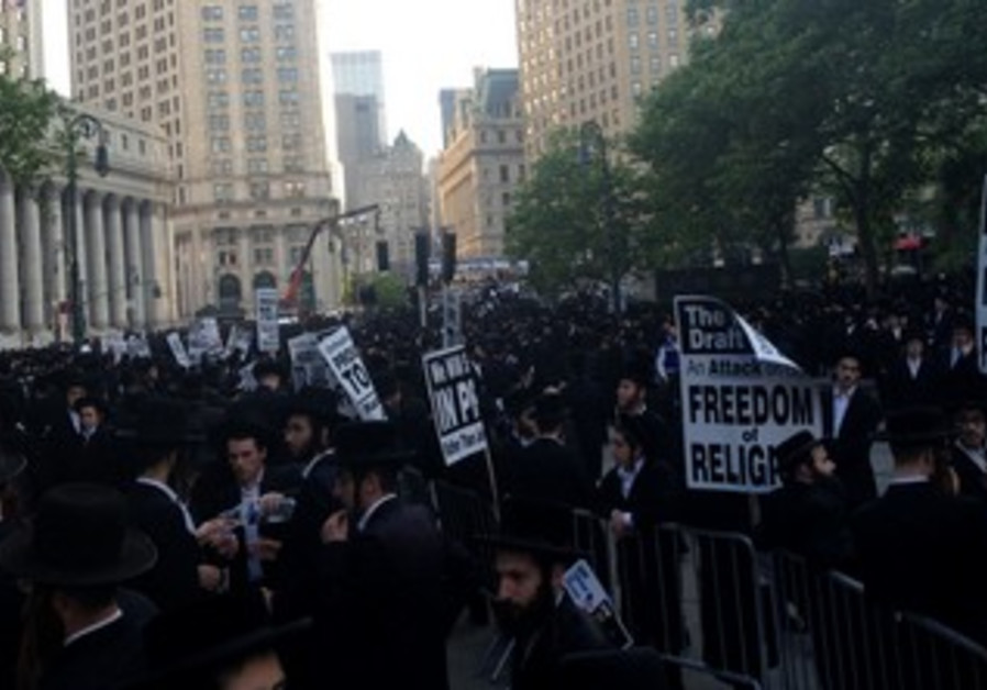 Haredi anti-draft protest in Lower Mahnattan, June 9, 2013.
