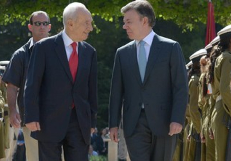 President Shimon Peres and President Calderon of Colombia.