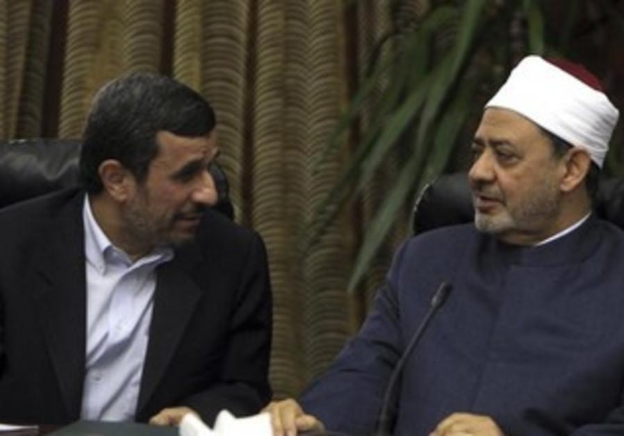 Iran's President Mahmoud Ahmadinejad and Sheikh Ahmed al-Tayeb, Egypt's leading Sunni Muslim scholar