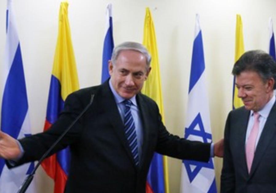 Prime Minister Netanyahu and Colombian President Juan Manuel Santos Calderon, Jerusalem, June 11.