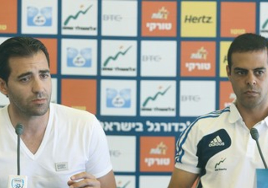 ISRAEL UNDER-21 national team coach Guy Luzon (right) and agent Dudu Dahan (left)