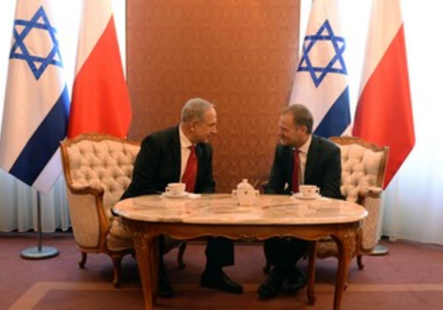 Prime Minister Binyamin Netanyahu Polish Prime Minister Donald Tusk.