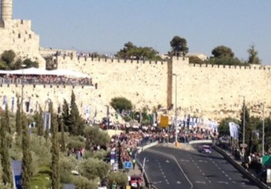 Jerusalem Formula Peace Road Show, whose circuit passes Old City walls, June 13, 2013.